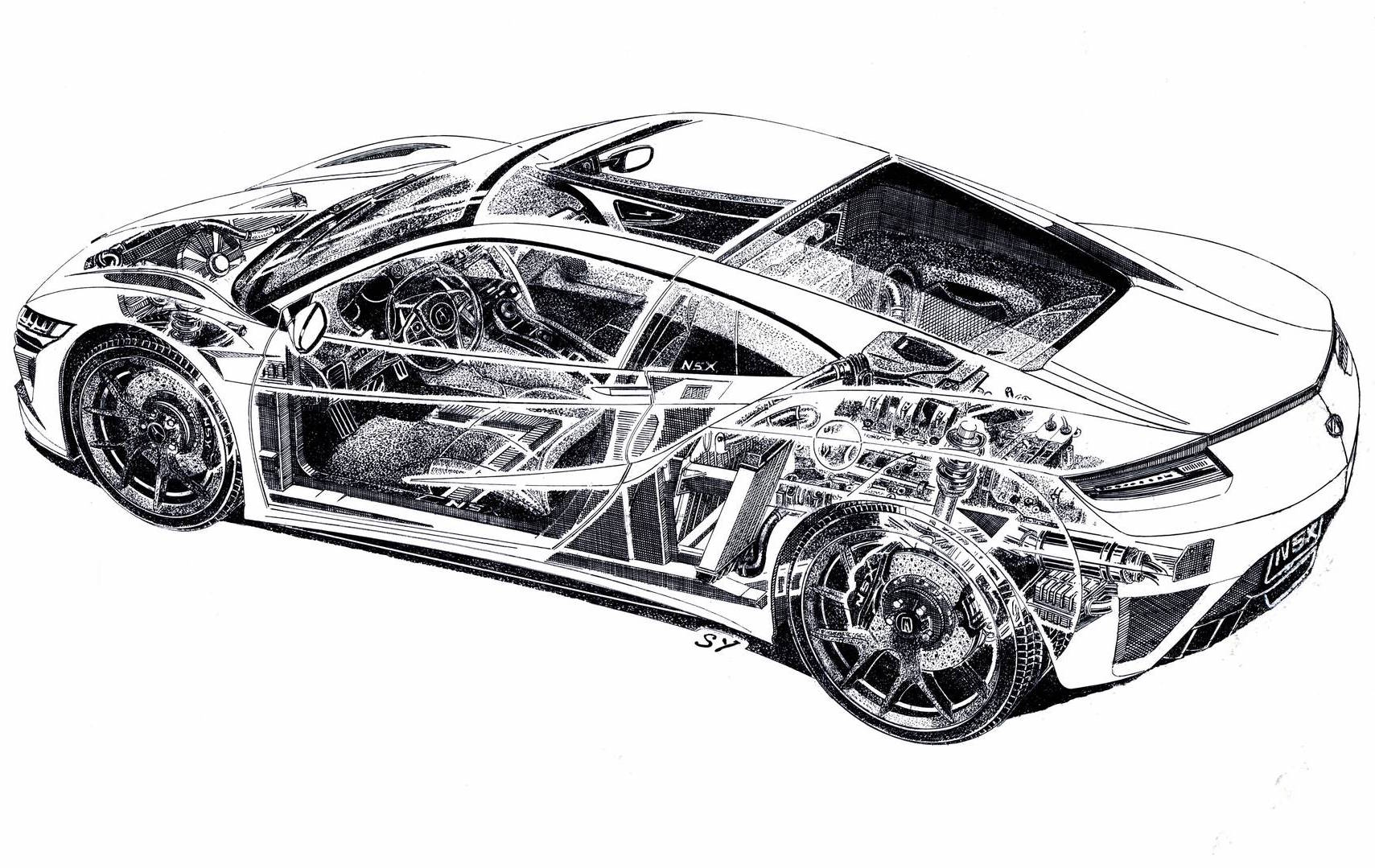 Acura NSX Pencil Sketch